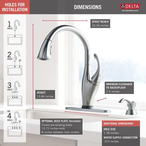 Arctic Stainless Single Handle Pull-Down Kitchen Faucet with Touch 2 O ® Technology and Soap Dispenser
