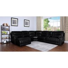 Barrington Left Facing Chaise Leather Gel Sectional in Black