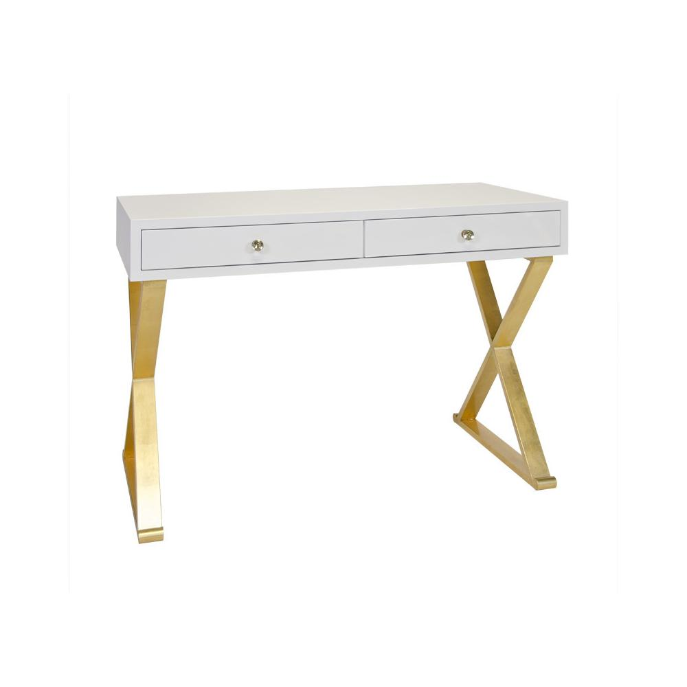 "Looking for A Versatile and Stylish Desk Solution To Work From Home"" You'll Love Jared's Wide Drawers and Gorgeous Crossed Leg Base. Hand Finished In Gold Leaf and Our Signature Glossy White Lacquer Finish."