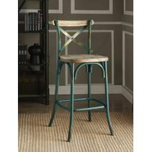 "ACME Zaire Bar Chair (1Pc) - 96807 - Antique Turquoise & Antique Oak - 29"" Seat Height"