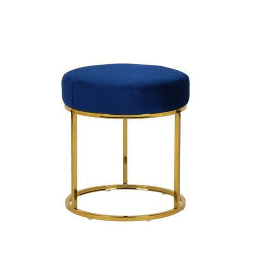 VIG Furniture - Modrest Elmont Modern Blue Velvet & Gold Stool Ottoman