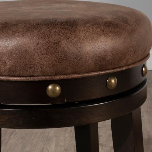 Gallery - Benard Wood Backless Counter Height Swivel Stool, Deep Smoke Brown