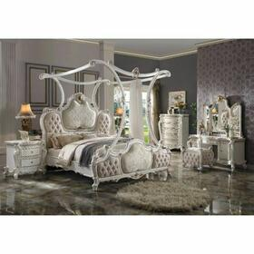 ACME Picardy California King Bed (Canopy) - 28204CK - Traditional, Vintage - Fabric, Wood (Aspen/Poplar), Poly-Resin - Fabric and Antique Pearl