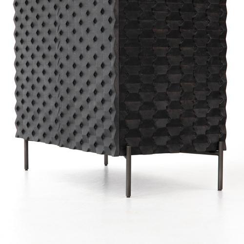 Four Hands - Raffael Bar Cabinet-carved Black Wash