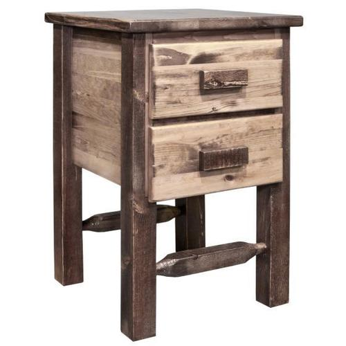 Homestead Collection Nightstand with 2 Drawers, Stain and Lacquer Finish