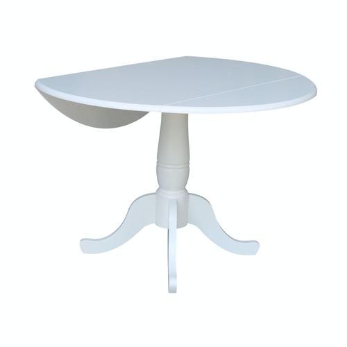 John Thomas Furniture - Round Dropleaf Pedestal Table in Pure White