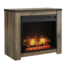 See Details - Trinell Fireplace Mantel w/Fireplace Insert Brown
