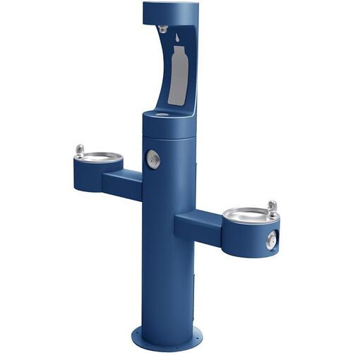 Elkay - Elkay Outdoor EZH2O Bottle Filling Station Tri-Level Pedestal, Non-Filtered Non-Refrigerated Blue
