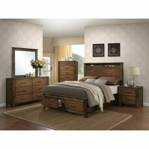 ACME Merrilee Eastern King Bed w/Storage - 21677EK - Oak