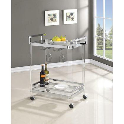 See Details - Traditional Clear Acrylic and Chrome Serving Cart