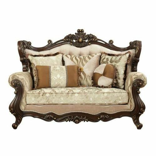 ACME Shalisa Loveseat w/5 Pillows - 51051 - Fabric & Walnut