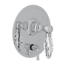 Polished Chrome Italian Bath Pressure Balance Trim With Diverter with Crystal Lever