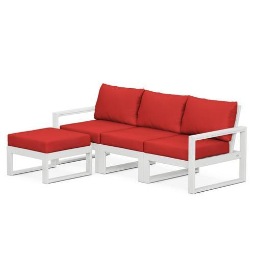 Polywood Furnishings - EDGE 4-Piece Modular Deep Seating Set with Ottoman in White / Crimson Linen