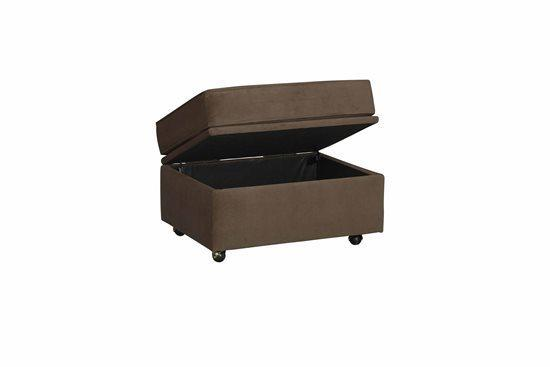 Storage Ottoman - Shown in 113-16 Chocolate Twill Microfiber Finish