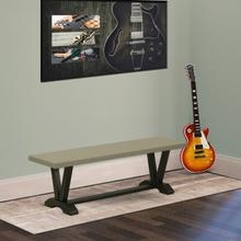 15x60 in Dining Bench with Wirebrushed Black Leg and Cement Top finish