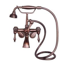 Tub Wall-Mounted Filler with Hand-Held Shower - Lever Handles with Finials / Oil Rubbed Bronze