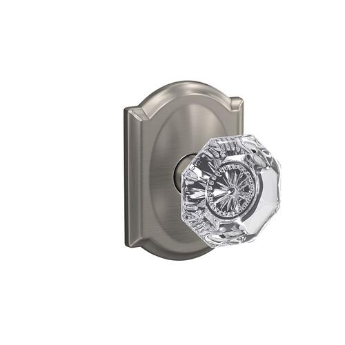 Custom Alexandria Non-Turning Glass Knob with Camelot Trim - Satin Nickel