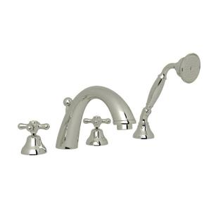 Verona 4-Hole Deck Mount C-Spout Tub Filler with Handshower - Polished Nickel with Cross Handle