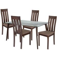 5 Piece Espresso Wood Dining Table Set with Glass Top and Vertical Slat Back Wood Dining Chairs - Padded Seats