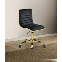 ACME Alessio Office Chair, Black Velvet & Gold - 92516