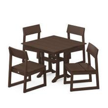 View Product - EDGE 5-Piece Farmhouse Trestle Side Chair Dining Set in Mahogany