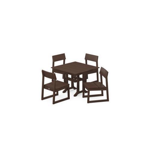 Polywood Furnishings - EDGE 5-Piece Farmhouse Trestle Side Chair Dining Set in Mahogany