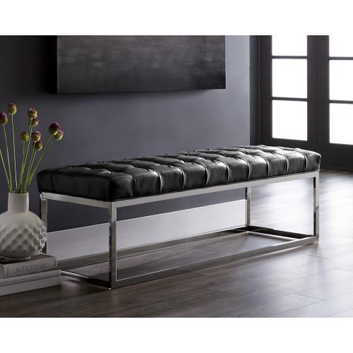 Sunpan Modern Home - Sutton Bench - bonded lthr: cantina magnetite