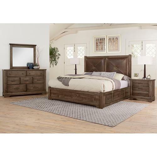 King Leather Bed with 1 Side Storage