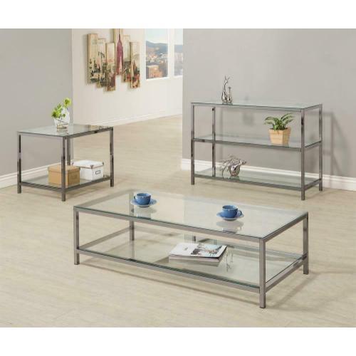Coaster - Contemporary Black Nickel Sofa Table