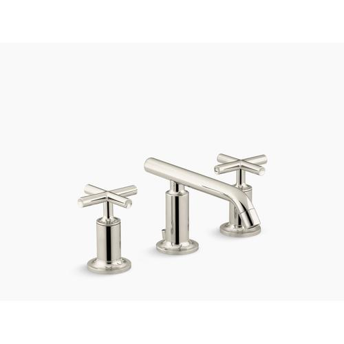 Vibrant Polished Nickel Widespread Bathroom Sink Faucet With Low Cross Handles and Low Spout