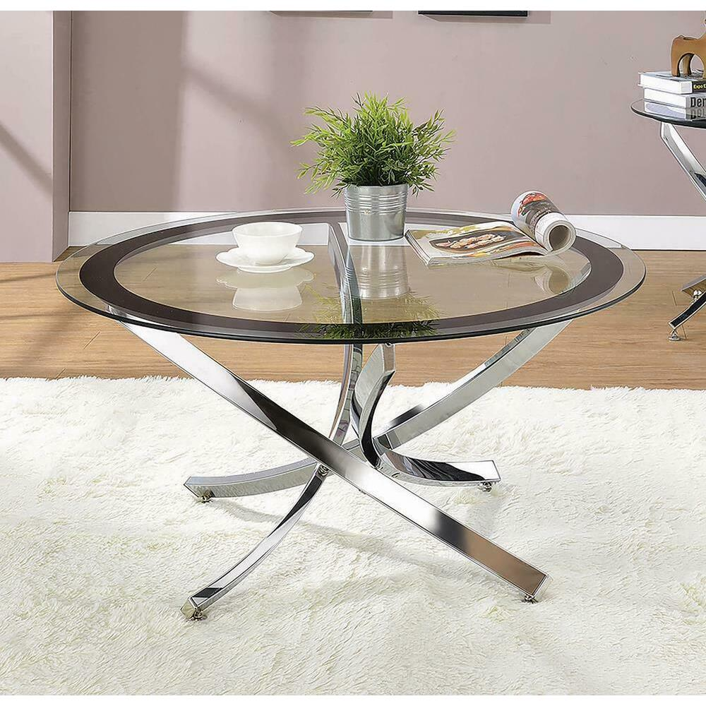 See Details - Glass Top Chrome Coffee Table