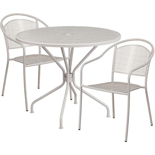 35.25'' Round Light Gray Indoor-Outdoor Steel Patio Table Set with 2 Round Back Chairs