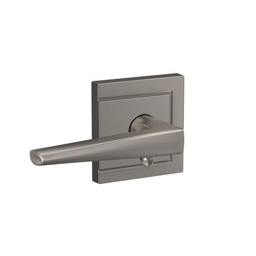 Custom Eller Lever with Upland Trim Hall-Closet and Bed-Bath Lock - Satin Nickel