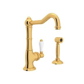 Cinquanta Single Hole Column Spout Bar and Food Prep Faucet with Sidespray - Italian Brass with White Porcelain Lever Handle