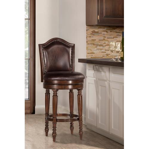 Hillsdale Furniture - Barcelona Wood Bar Height Swivel Stool, Cherry Brown
