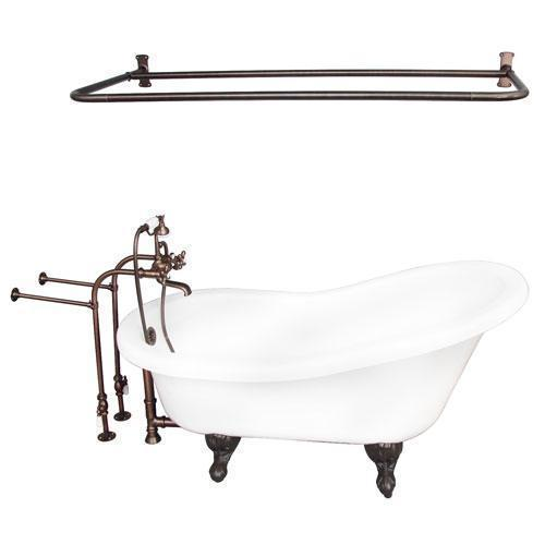 "Imogene 67"" Acrylic Slipper Tub Kit in White - Oil Rubbed Bronze Accessories"