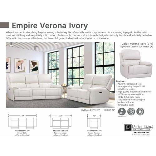 Parker House - EMPIRE - VERONA IVORY Power Sofa