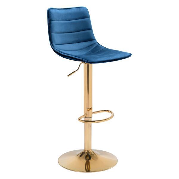 See Details - Prima Bar Chair Dark Blue & Gold