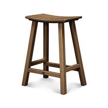 "Teak Traditional 24"" Saddle Bar Stool"