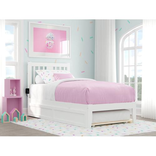 Tahoe Twin Bed with USB Turbo Charger and Twin Trundle in White