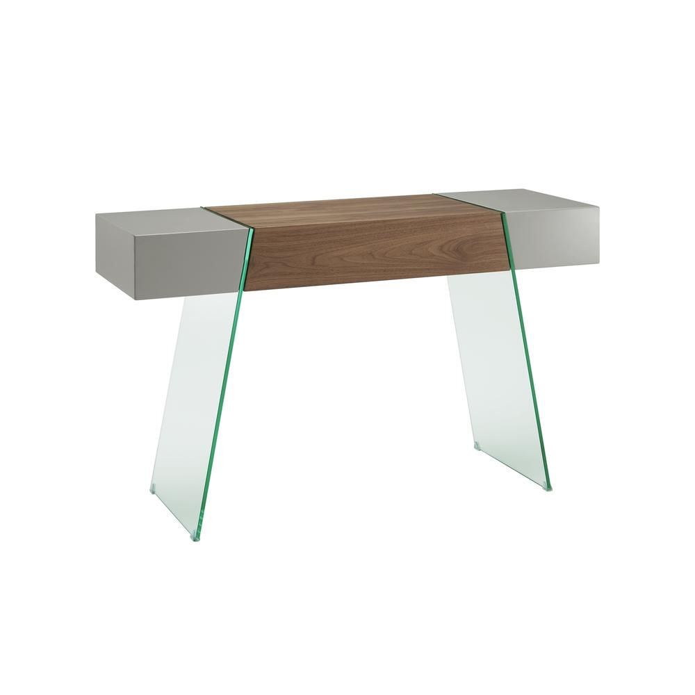 The Il Vetro Cabana Console Table In High Gloss Taupe Lacquer And Walnut Veneer With Clear Glass