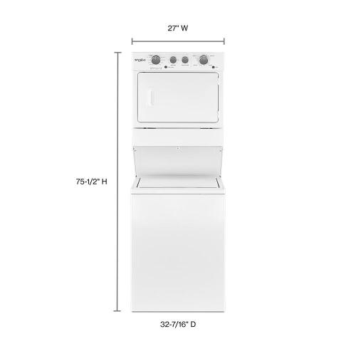 Whirlpool - 3.5 cu.ft Long Vent Gas Stacked Laundry Center 9 Wash cycles and Wrinkle Shield™