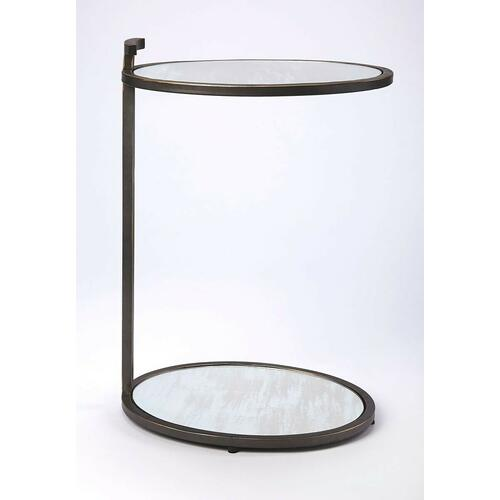 Clean, contemporary, and your sofa or chair's new sidekick, this side table lends a helping hand for a lamp, your favorite beverage, and more. Its ovular, minimalist design features a stylish blackened gold finished iron frame with an antique mirrored mirrored glass top and lower display shelf. Great for small spaces.