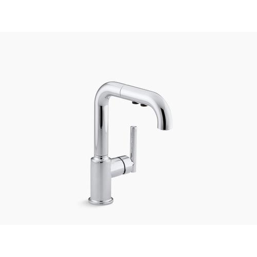 "Vibrant Stainless Single-hole Kitchen Sink Faucet With 7"" Pull-out Spout"