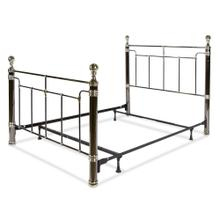 Northbrook Complete Metal Bed and Steel Support Frame with Antique Styling and Bold Finial Posts, Black Nickel and Chrome Finish, King
