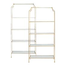 The Modern Asian Detailing On Our Chloe Etagere Is A Study In Refined Design. A Beautiful, Hand Finished Champagne Silver Leaf Frame Pairs Elegantly With Crystal Clear Glass Shelves In This Bright and Open Display Unit.