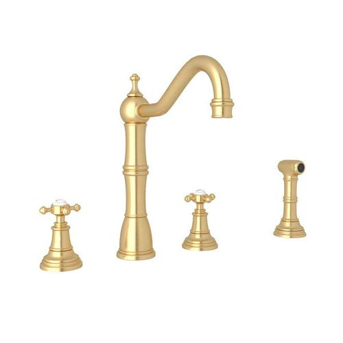 Edwardian 4-Hole Kitchen Faucet with Sidespray - Satin English Gold with Cross Handle
