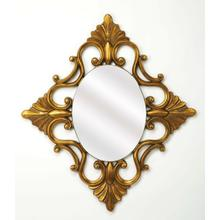 See Details - Add an elegant touch to any space with this ornate wall mirror. Made with a Antique Gold finish polyurethane frame, this charming design showcases a timeless oval silhouette and elegant detailing. Establish a traditional French aesthetic in your living room by setting this piece on striped wall-paper wall over a baroque-inspired console table topped with framed photos and objects d'art.