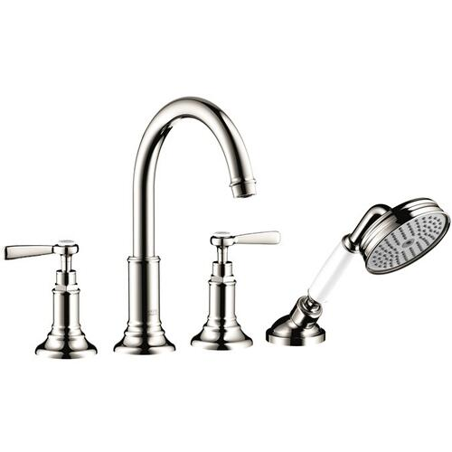 Polished Nickel 4-hole rim mounted bath mixer with lever handles