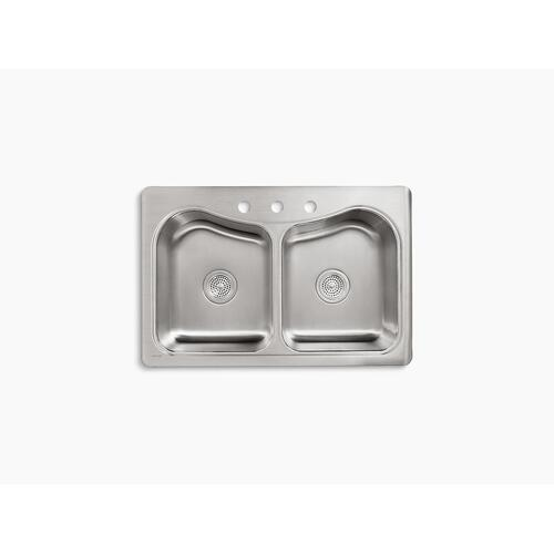 "33"" X 22"" X 8-5/16"" Top-mount Double-equal Bowl Kitchen Sink With 3 Faucet Holes"